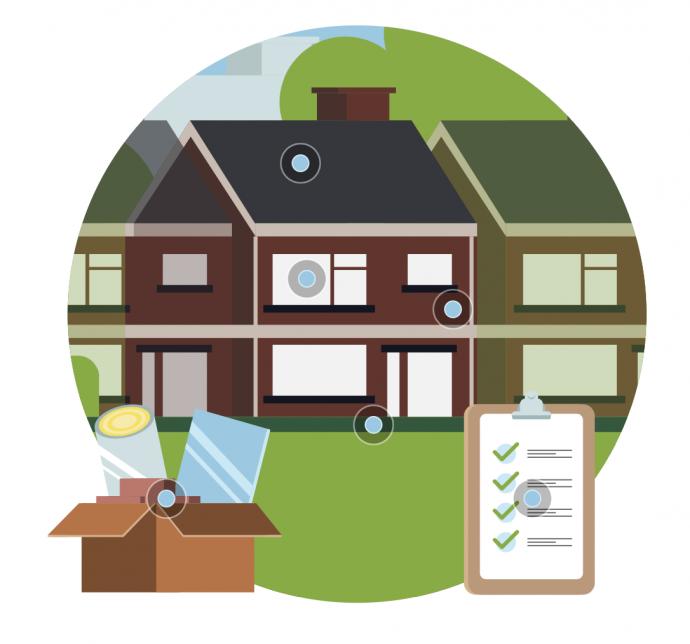 tekening huis en checklist
