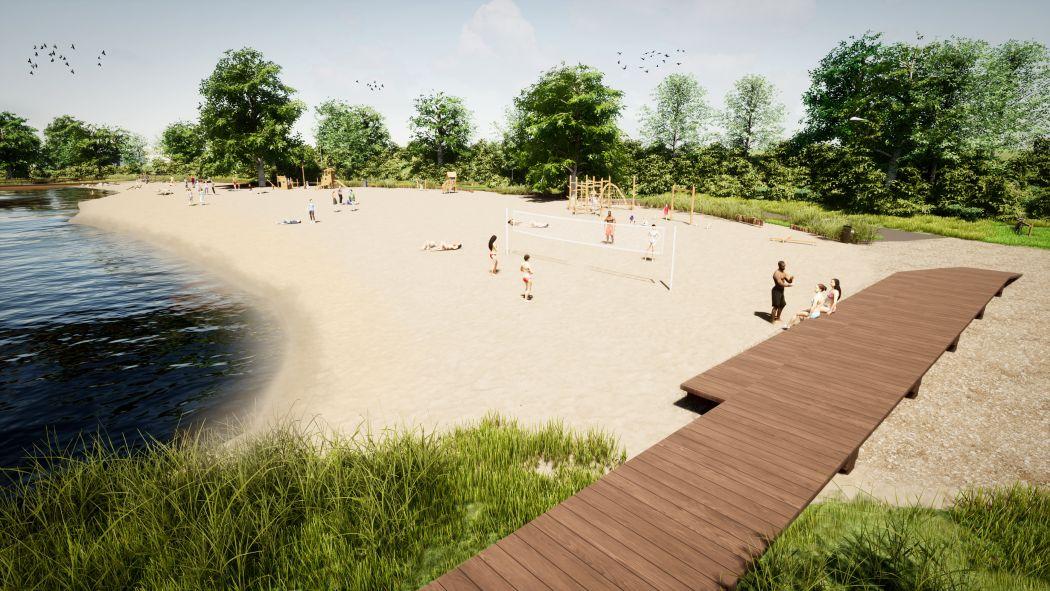 Lutjestrand krijgt een zwembassin met steiger voor sloepen. (copyright: HB Advies)